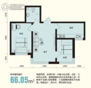 龙溪第2室1厅1卫66平方米户型图