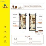 天佑城2室2厅2卫26平方米户型图
