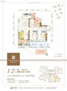 清晖嘉园2室2厅2卫91平方米户型图
