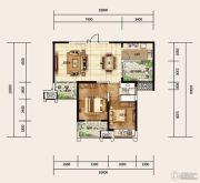 建业龙城2室2厅1卫97平方米户型图