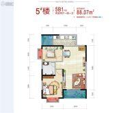 西安深国投中心2室2厅1卫88平方米户型图