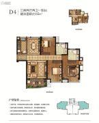 保利・西江林语3室2厅1卫88平方米户型图