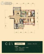 海德公园3室2厅2卫108平方米户型图