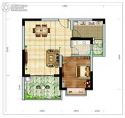 海南近海湾1室2厅1卫67平方米户型图