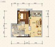 绿地新里缇香公馆1室2厅1卫60平方米户型图