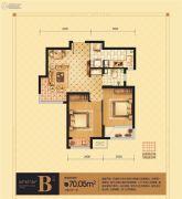 荣盛坤湖郦舍2室2厅1卫70平方米户型图