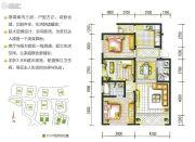 融城春晓3室2厅2卫109平方米户型图