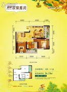 富林双泉雅苑2室2厅2卫74平方米户型图
