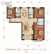滨湖国际・观澜3室2厅2卫126平方米户型图