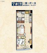 惠丰广场1室1厅1卫59平方米户型图