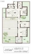 绿城桃李春风3室2厅2卫105平方米户型图