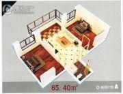龙溪第2室1厅1卫65平方米户型图