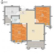 龙廷山水・东方�Z园2室2厅1卫73平方米户型图