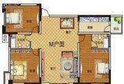 湾畔小公馆3室2厅1卫0平方米户型图