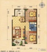 世嘉光织谷2室2厅1卫87平方米户型图