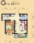满堂悦MOMΛ1室1厅1卫50平方米户型图
