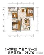随州季梁佳园2室2厅1卫105平方米户型图