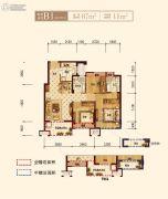 上实海上海3室2厅2卫87平方米户型图