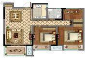 康桥香溪郡3室2厅1卫90平方米户型图