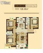 东鑫中央公园3室2厅2卫128平方米户型图