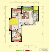 天居锦河丹堤2室2厅1卫92平方米户型图