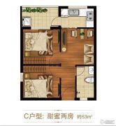 涌鑫哈佛中心2室1厅1卫53平方米户型图