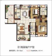 力高滨湖国际2室2厅2卫116平方米户型图