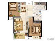 华启金悦府2室2厅1卫88平方米户型图