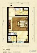 中海御鑫阁1室1厅1卫36平方米户型图