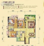 金地辉煌・富域城3室2厅2卫114平方米户型图