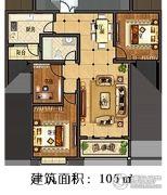 林溪湾3室2厅1卫105平方米户型图