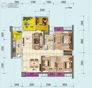 时代倾城3室2厅1卫94平方米户型图