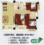 新城市宜家3室2厅2卫102平方米户型图