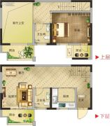 凯旋国际1室2厅2卫93平方米户型图
