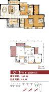 金碧丽江东海岸3室2厅2卫86平方米户型图