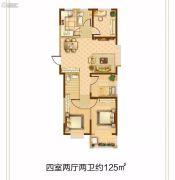 恒和・花半里4室2厅2卫125平方米户型图