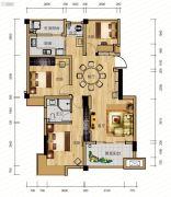 麓山枫情3室2厅2卫91平方米户型图