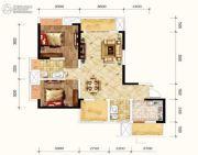 金融街融景城2室2厅2卫77平方米户型图