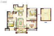 开元九龙湖畔云顶3室2厅1卫74平方米户型图