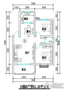 君尚一品小区二期2室2厅1卫83平方米户型图