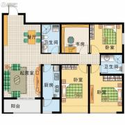 阳光100国际新城3室2厅2卫130平方米户型图