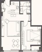 大拇指广场2室1厅1卫79平方米户型图