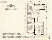 金地花园2室2厅2卫120平方米户型图