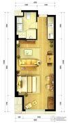 北大资源海港城1室1厅1卫55平方米户型图