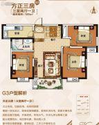 佳田未来城3室2厅1卫109平方米户型图
