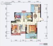 地铁首座3室2厅1卫83--91平方米户型图