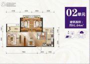 云景华庭2室2厅1卫91平方米户型图