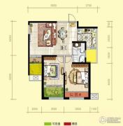 天居锦河丹堤2室2厅1卫89平方米户型图