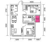 千翔尚城2室1厅1卫75平方米户型图