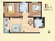 西部峰景2室2厅1卫78平方米户型图